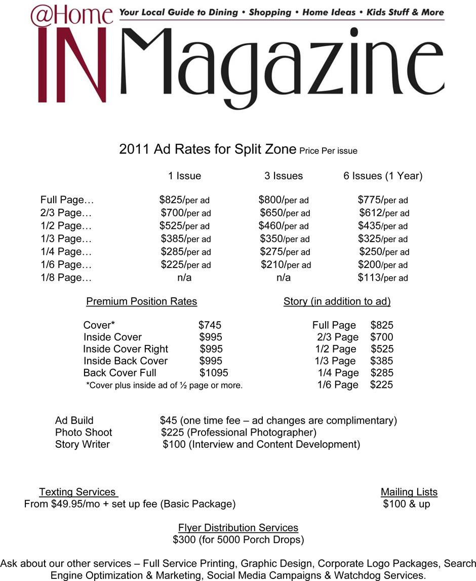 HomeIN Magazine Ad Rates